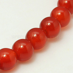 Natural Carnelian Bead Strands, Dyed, Grade A, Round, 6mm, Hole: 0.8mm; about 65pcs/strand, 15.5inches