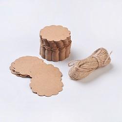 Vitrines de bijoux étiquettes de prix du papier, avec corde de chanvre, chaîne de chanvre, ficelle de chanvre, fleur, Pérou, 60x0.5mm, Trou: 5mm(X-CDIS-G001-01)