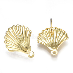 Alloy Stud Earring Findings, with Loop, Steel Pins, Shell, Light Gold, 18x15mm, Hole: 1.2mm; Pin: 0.7mm(X-PALLOY-S121-24)