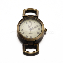 Composants de montre tête cadran en alliage, plat rond, bronze antique, 29x27x5mm, Trou: 10x5mm(WACH-F001-02AB)