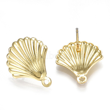 Alloy Stud Earring Findings, with Loop, Steel Pins, Shell, Light Gold, 18x15mm, Hole: 1.2mm, Pin: 0.7mm(X-PALLOY-S121-24)