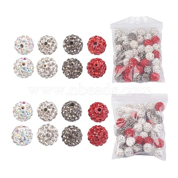 Pave Disco Ball Beads, Polymer Clay Rhinestone Beads, Grade A, Round, Mixed Color, 10~10.5mm, Hole: 0.5~1.8mm, 80pcs/set(RB-X0013-05)