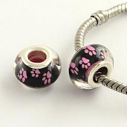Perles européennes en acrylique avec motif de pattes de chien à gros trou, en laiton de tonalité de platine noyaux doubles, rondelle, camélia, 14x9mm, Trou: 5mm(X-OPDL-Q128-12E)
