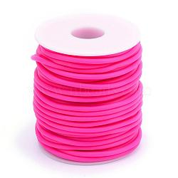Tuyau creux corde en caoutchouc synthétique tubulaire pvc, enroulé aurond de plastique blanc bobine, camélia, 2mm, trou: 1 mm; environ 50 m / rouleau(RCOR-R007-2mm-11)
