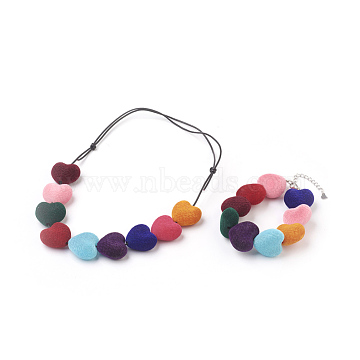 Cowhide Leather Cord Jewelry Sets, Necklaces & Bracelets, with Acrylic Beads and Stainless Steel Finding, 5.6 inches~8.3 inches(14.3~21cm); 8-5/8 inches(21.9cm)(SJEW-JS00981)