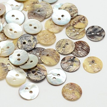 2-Hole Flat Round Mother of Pearl Buttons, Akoya Shell Button, Akoya Shell Button, Tan, 10x1mm, Hole: 1mm, about 2880pcs/bag(SHEL-N033-06-10mm)