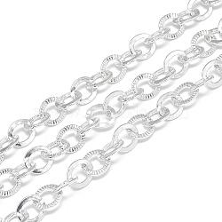 chaînes de câbles en aluminium non soudées, moletage, gainsboro, 9.8x8x1.6x1 mm(X-CHA-S001-033)