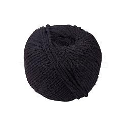 Fil de coton pour la fabrication de bijoux, noir, 4 mm; environ 110 m/rouleau(OCOR-PH0003-32-4mm)