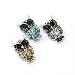 Boutons pression de strass à bijoux en alliage, chouette, pour halloween, sans plomb et sans cadmium et sans nickel, argent antique, couleur mixte, 26~27x19~20x8~9 mm; bouton: 5 mm(X-SNAP-F003-14-NR)