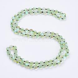 """Синтетические лунные камни из бисера многоцелевые ожерелья / браслеты, три-четыре петли браслеты, круглые, салатовый, 36.2"""" (92 см)(NJEW-K095-C04)"""