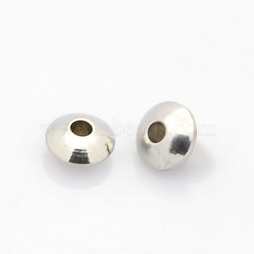 Rondelle 304 Stainless Steel Beads, Stainless Steel Color, 6x3mm, Hole: 2mm(STAS-N044-17)