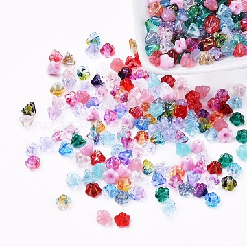 Czech Glass Beads, Transparent/Imitation Opalite/Electroplated/Gold Inlay Color/Dyed/Opaque, Flower, Mixed Color, 6.5x5mm, Hole: 0.8mm, about 357~363pcs/bag(GLAA-G070-05B)