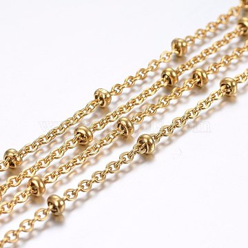 304 Stainless Steel Cable Chains, Satellite Chains, Decorative Chains, Rondelle Beads, Soldered, Golden, 2.5x2x0.5mm(X-CHS-H020-02G)