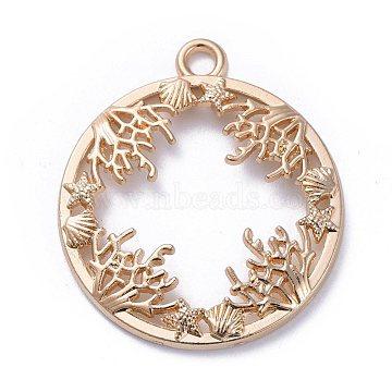 Zinc Alloy Open Back Bezel Pendants, For DIY UV Resin, Epoxy Resin, Pressed Flower Jewelry, Ring with Ocean Plants, Light Gold, 34x30x3mm, Hole: 3mm(X-PALLOY-E577-20KCG)