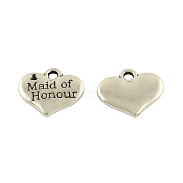 Tibetan Alloy Heart Carved Word Maid of Honour Wedding Charms Rhinestone Settings, Lead Free & Cadmium Free, Antique Silver, 14x16x2.5mm, Hole: 2mm, Fit for 1.5mm Rhinestone(X-TIBEP-GC225-AS-RS)