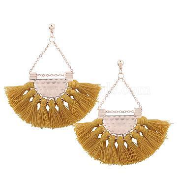 Thread Tassel Earrings, Alloy Chandelier Earrings, with Brass Pins, Golden, Goldenrod, 65x60mm(EJEW-K046-11G)