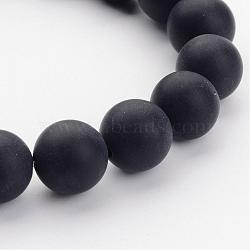 Grade A Natural Black Agate Beads Strands, Dyed, Frosted, Round, 10mm, Hole: 1mm; about 39pcs/strand, 16inches