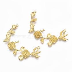 Réglages d'émail pendentif en laiton, sans nickel, branche avec des fleurs, non plaqué, 29x54x4mm, Trou: 1.5mm(KK-S349-170-NF)