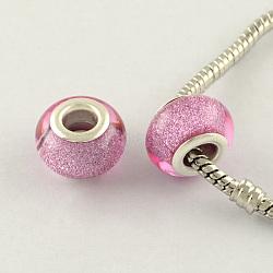 Perles Européennes en acrylique avec grand trou, laiton avec ton argent noyaux doubles, rondelle, pearlpink, 14x9mm, Trou: 5mm(X-OPDL-R118-10B)