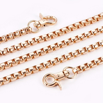 Bag Strap Chains, with Aluminum Box Chains and Alloy Swivel Clasps, Light Gold, 136~140cm; 6mm(IFIN-WH0051-02LG)