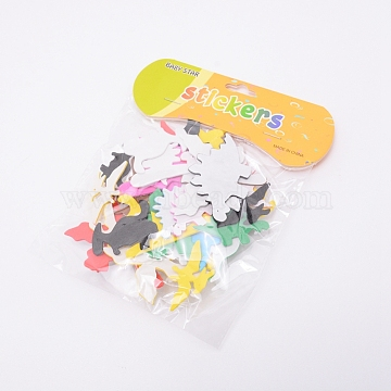 EVA Wall Stickers, Mixed Dinosaur, Colorful, 30~72x25~61x1.6~2.1mm, Hole: 5mm, 40pcs/bag(DIY-WH0181-21)