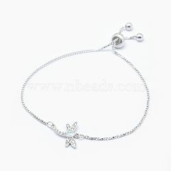 """Bracelets bolo d'opale synthétique ajustables en laiton, Bracelets coulissants, avec zircons, Plaqué longue durée, libellule, blanc, platine, 9""""~9-7/8"""" (23~25cm); 1mm(BJEW-O165-05P)"""