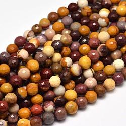 """Facettes Mookaite naturelle rondes chapelets de perles, 10mm, trou: 1mm; environ 37 pcs/chapelet, 15""""(G-F266-16-10mm)"""