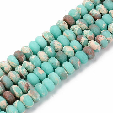 Natural Regalite/Imperial Jasper/Sea Sediment Jasper Beads Strands, Frosted, Dyed & Heated, Rondelle, Pale Turquoise, 8x5~6mm, Hole: 1mm; about 71~73pcs/strand, 14.56 inches(37~38cm)(G-S367-001B-006)