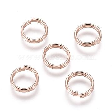 304 Stainless Steel Split Rings, Rose Gold, 10x2mm, Inner Diameter: 8mm, Single Wire: 1mm(X-STAS-P223-22RG-06)