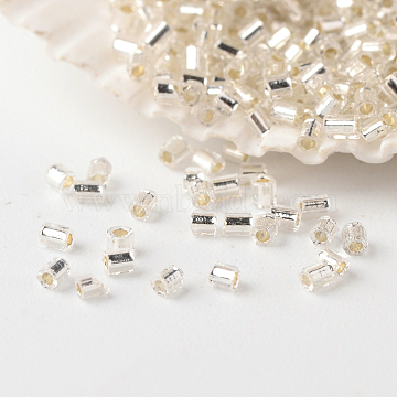 FGB Glass Seed Beads, Hexagon(Two Cut), Silver Lined, Clear, 2~3x1.5~2mm, Hole: 0.5mm; about 37500pcs/pound(SEED-A023-F-H34)