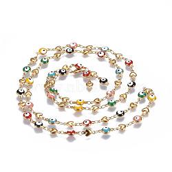 304 chaînes en acier inoxydable émaillé, soudé, coeur et plat mauvais oeil rond, or, colorées, 10x5.5x2mm(CHS-P006-06G)