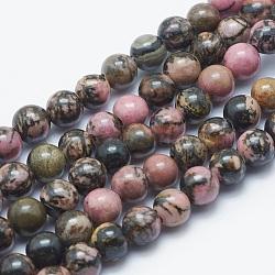 """Chapelets de perles en rhodonite naturelle, rond, 8mm, trou: 2mm; environ 48 pcs/chapelet, 15.3""""(G-K287-16-8mm)"""