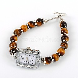 Rectangle Alloy Rhinestone Electronic Watch Bracelets, with Tiger Eye and Tibetan Style Toggle Clasps, Platinum, 195mm(BJEW-JB01737-04)