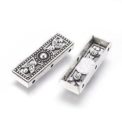 Liens multi-brins en alliage de style tibétain, rectangle, argent antique, 25x8.5x5mm, Trou: 1.2mm(PALLOY-P172-037)