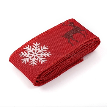 Christmas Burlap Ribbon, Hessian Ribbon, Jute Ribbon, Garment Accessories, Red, 46x0.4mm; about 2m/bundle(SRIB-WH0006-15C)