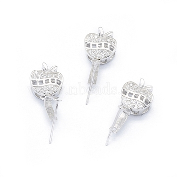 925 Sterling Silver Pendant Ice Pick Pinch Bails, with Clear Cubic Zirconia, Apple, Platinum, 15mm, Hole: 2.5x2mm, Pin: 0.6mm(STER-I017-081P)
