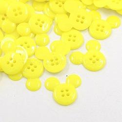 Boutons en plastique acrylique, boutons de couture, 4-trou, teint, tête de souris, jaune, 22x20x3mm, Trou: 1mm(X-BUTT-E062-09)