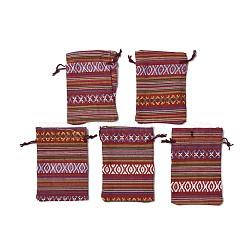 Pochettes d'emballage en tissu de style ethnique, rectangle, firebrick, 14x10 cm(X-ABAG-R006-10x14-01G)