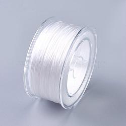 chaîne de cristal élastique plat, fil de perles élastique, pour la fabrication de bracelets élastiques, plat, effacer, 0.8 mm; environ 100 m / roll; 1 rouleau / boîte(EW-WH0002-A01)
