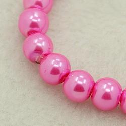 Perle de verre ronde perles en vrac pour collier de bijoux fabrication artisanale, hotpink, 6 mm, trou: 1 mm, environ 140 pcs / brin(X-HY-6D-B54)