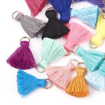 Polycotton(Polyester Cotton) Tassel Pendant Decorations, with Iron Findings, Light Gold, Mixed Color, 20~30x7~8mm, Hole: 5mm(X-FIND-S280-M)