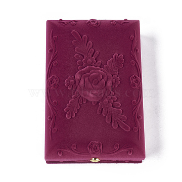 Rose Flower Pattern Velvet Jewelry Set Boxes, Necklace and Earrings, with Cloth and Plastic, Rectangle, Medium Violet Red, 17.5x11.5x5.6cm(X-VBOX-O003-02)