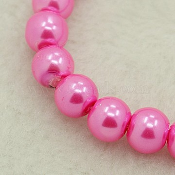 6mm HotPink Round Glass Pearl Beads