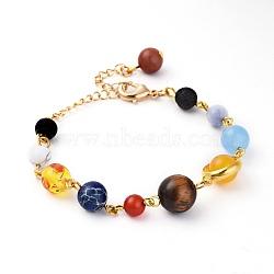 univers galaxie l'étoile gardienne des neuf planètes, bracelets de perles de pierres précieuses naturelles, avec les résultats en laiton, 6-1 / 8 (15.4 cm)(X-BJEW-JB04186)