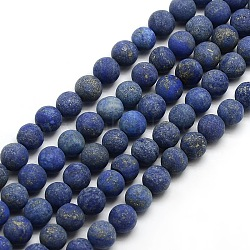 Natural Frosted Lapis Lazuli Round Bead Strands, Dyed & Heated, 8mm, Hole: 1mm; about 47~49pcs/strand, 14.9~15.6inches