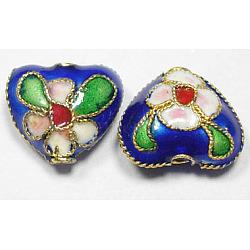 Handmade Cloisonne Beads, Heart, Royal Blue, 12mm, Hole:2mm(X-CLB052Y-10)