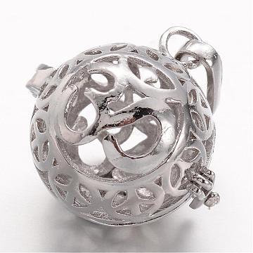 Eco-Friendly Rack Plating Brass Hollow Cage Pendants, Yoga Theme, Lead Free & Cadmium Free & Nickel Free, Platinum, 26x25~26x16~21mm, Hole: 3.5x9mm; inner diameter: 18.5mm(KK-P048-13PB-NR)