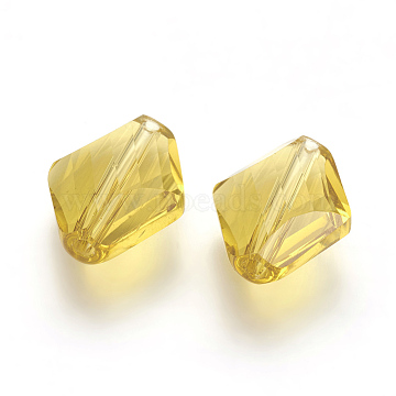 14mm LightKhaki Rhombus Glass Beads