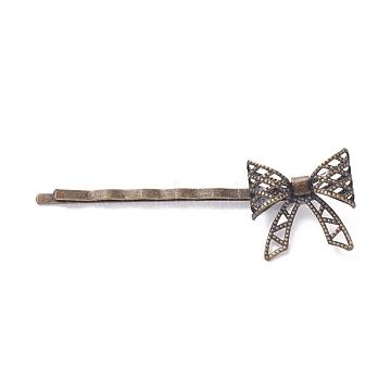 Épingles à cheveux en fer, avec les accessoires en laiton, bowknot, Plaqué longue durée, bronze antique, 62x11 mm; bowknot: 20x20 mm(IFIN-L035-06AB-NF)