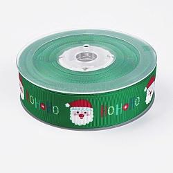 """Rubans gros grain imprimés polyester, le thème de Noël, le père noël, verte, 1"""" (25 mm); environ 100yards / rouleau (91.44m / rouleau)(ORIB-E002-B01)"""
